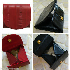 Genuine Eel Skin Button Coin Purse Red wallet and Black wallet 2 pcs Set
