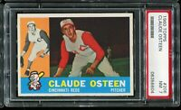 1960 Topps Baseball #206 CLAUDE OSTEEN Cincinnati Reds PSA 7 NM