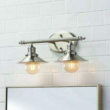 Retro Vanity Light, Industrial 2-Lamp Brushed Nickel, Reversible, EZ Install