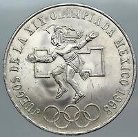 1968 Mexico XIX Olympic Games Aztec Ball Player BIG 25 Pesos Silver Coin i88811
