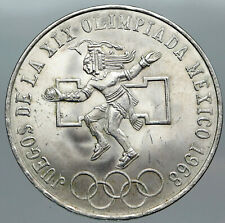 1968 Mexico XIX Olympic Games Aztec Ball Player BIG 25 Pesos Silver Coin i88811