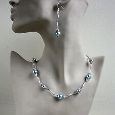 Vintage pearls crystal collar necklace bracelet earrings wedding silver set grey