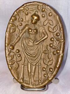VINTAGE Cast Bronze Ashtray Naughty Nellie Risque Woman 2 Sided Dish