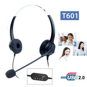 T601 Call Center Customer Service Headset Headphone Professional USB 2.0 For PC*