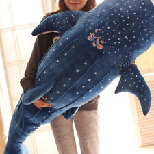 Home Shark Big Fish Whale Stuffed Plush Cotton Doll Adult Kids Toy Gift Blue