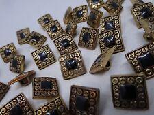 Vintage Black Antique Gold Square Metal Buttons Ornate Border 13mm Lot of 8 A209