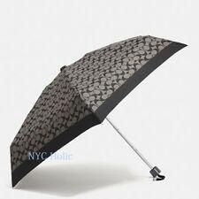 New Coach F63365 Mini Umbrella In Signature Black Grey NWT $65 MSRP