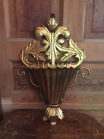 Vintage Mid Century Florentine Large Gold Metal Wall Hanging Vase Made in Italy