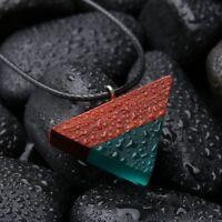 Schmuck Seilkette Farbig Harz Holz Anhänger Dreieck Sandelholz Halskette