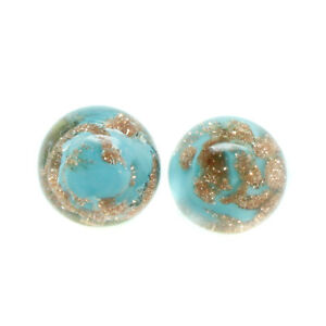 Murano Glass Earrings Light Blue Bronze Circular Handmade Authentic from Venice
