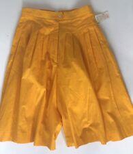 Jones New York Vintage Culotte Shorts Wide Leg Pleated Sz 6 Cotton Yellow