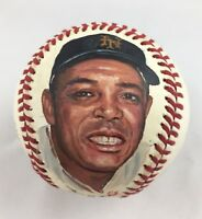 Young Willie Mays Portrait Hand Painted on an Official Baseball ES Erwin Sadler