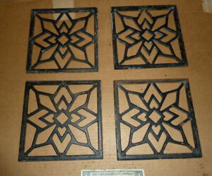 """Vintage 4 Heat Vents,Grates,Cast Iron Register,A.8-1/4"""" Square,Old House Tool"""