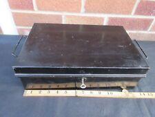 DEED BOX STEEL ANTIQUE LOCKABLE WITH 1 KEY CASH DOCUMENT JEWELERY