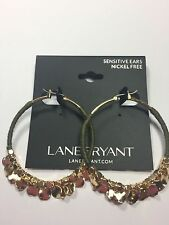LANE BRYANT THREADED HOOP EARRINGS ~ GREEN WITH GOLD DISCS & BEADS