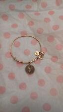 Alex & Ani H Letter Initial Gold Charm Bangle Bracelet