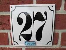 Hausnummer Mega Groß  Emaille Nr 27 schwarze Zahl weißer Hintergrund 20cmx20 cm