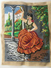 """Vtg Goblen Art Sewn Tapestry Fairy Goddess 13x17"""" Fiber Art Thread Painting OOAK"""