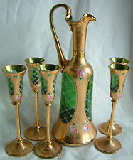 VICTORIAN DECORATIVE GILT & ENAMEL GLASS EWER  & 5 LIQUER GLASSES MOSER? CZECH?