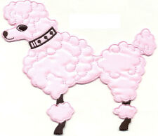 """POODLE DOG PINK 6"""" EMBROIDERED (L) IRON ON APPLIQUE PATCH"""