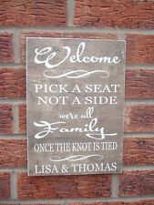 Welcome to our wedding seating plan personalised sign rustic wedding plaque