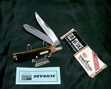 """Schrade 96Ot Bearhead Knife Hunter's Trapper 4-1/8"""" 1970's W/Packaging,Papers"""