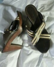 Cole Haan Platform Sandals Chunky High Heel Open Toe Leather Brown  7-1/2 AA