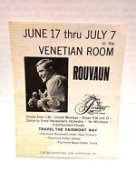 1967 San Fran Fairmont Hotel Venetian Room Advertisement Card Rouvaun O.C. Smith