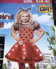 NEW 4pc SET LadyBug Sz 4 5 6 LIGHTS-UP halloween costumes Dress Wings Girls S