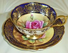 VINTAGE PARAGON CUP & SAUCER PINK ROSE GOLD DECORATION ON COBALT ARTIST SIGNED