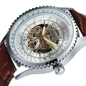 Sewor Skeleton Mechanical Automatic Mens 40mm Fashion gents Silver Watch 611