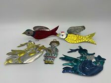 Vintage Mexican Folk Art Punched Colored Tin Lot of 5 Christmas Ornaments
