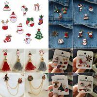 Christmas Tree Deer Snowman Bell Enamel Lapel Collar Pin Corsage Brooch Xmas NEW