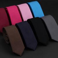 Men Solid Color Narrow Linen Cotton Necktie 5cm Skinny Formal Party Wedding Tie