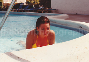 POOL GIRL Vintage FOUND PHOTOGRAPH Color FREE SHIPPING Coy Sexy Swimming 15 39