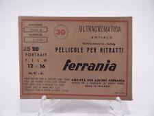 PUBBLICITARIA FERRANIA PELLICOLA PER RITRATTI ULTRACROMATICA 1960