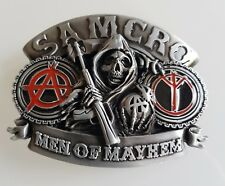 Boucle de ceinture Sons of Anarchy Samcro MEN OF MAYHEM tête de mort - biker