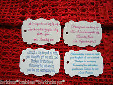 10 Kraft Ivory Gift Tags Christening Baptism Party Bomboniere Personalised  N3