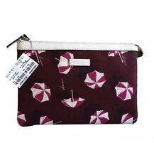 New Gucci Umbrella Parasol Canvas Zip Top Cosmetic Pouch Clutch Burgundy/Pink