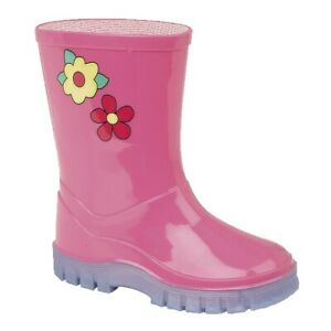 Kids Pink wellies wellington Flower Puddles Toddler boots 3 - 10 UK