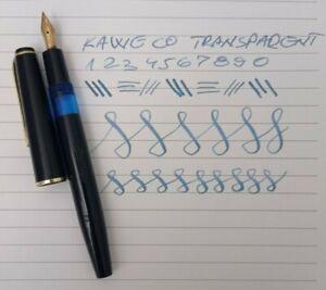 KAWECO Transparent 55G Fountain Pen 14K EF Semi Flex Nib Vintage Excellent