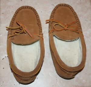 Vineyard Vines Boys 6M Brown Leather Lined Slippers