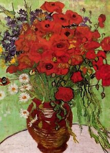 Vincent Van Gogh Red Poppies And Daisies PHOTO Art Print Vase Photograph