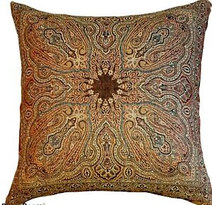 Pottery Barn Pillow Cover - Wool Paisley - Brown Gold Green - Very Rich!