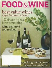 Food & Wine October 2008 Best Value Wines/Wine Country Top Recipes/Cheese