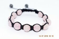 Bracelet Shamballa perles Quartz Rose 8mm - Amour / Tendresse