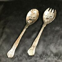 Set of Vintage Salad Serving Spoon Fork KINGS PATTERN
