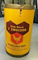 Vintage Poultry Feed Can Drum E Emultion Farm Advertising Sign Waste Can 13 x 21