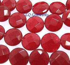 """15.5"""" Strand RUBY RED JADE 14mm Faceted Coin Beads"""