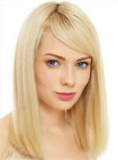 100% Real Hair!Elegant Light Blond Medium Straight Wig Hair For Women